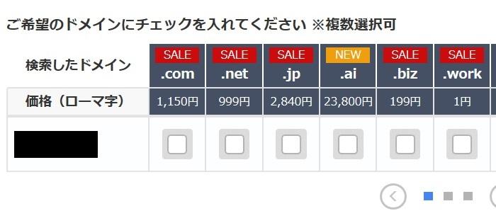 お名前.comでの検索結果
