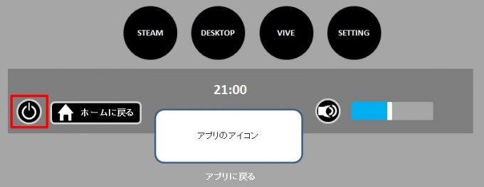 HTC VIVE VRアプリ、VRの終了