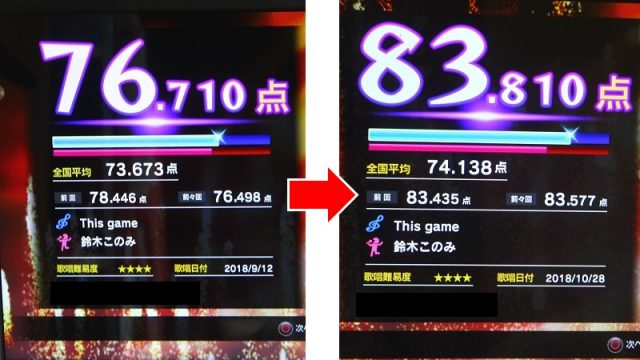 カラオケ70点代→80点代