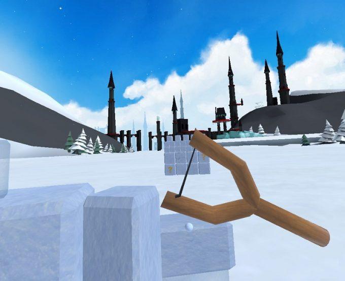 Snow Fortress パチンコで攻撃
