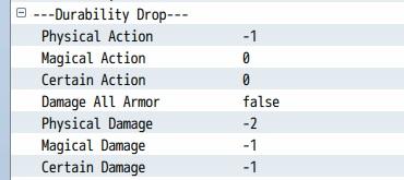 YEP_X_ItemDurabilityのプラグインパラメータ Durability Drop