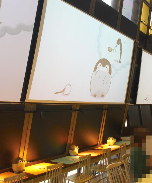 コウペンちゃんカフェ 感想レポート コウペンちゃんカフェ店内スクリーン