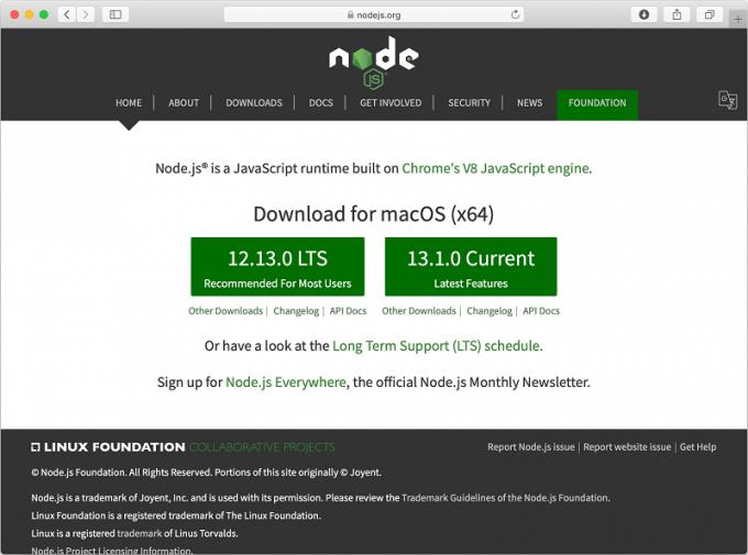 iOSアプリビルド準備2 Node.jsをダウンロード